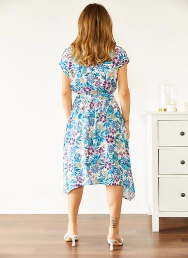 XHAN Multi Beli Lastikli Asimetrik Çiçek Desenli Elbise 0Yxk6-43872-52 Renkli